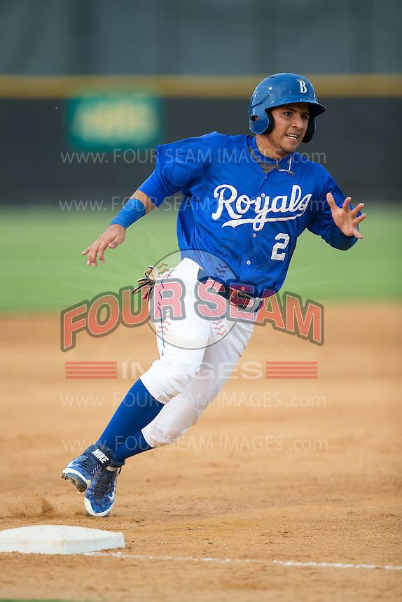 Jose Martinez (2) of the Burlington Royals rounds third base against the Danville Braves at Burlington Athletic Park on July 12, 2015 in Burlington, North Carolina.  The Royals defeated the Braves 9-3. (Brian Westerholt/Four Seam Images)