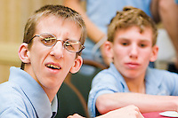 Jonathan Maul says hello at the Share and Care Network's annual retreat held at the Doubletree Guest Suites Hotel in Boston on May 20, 2006. <br /> <br /> The Share and Care Network was created in 1981 by Pat Cahill when her son Scott was diagnosed with Cockayne Syndrome.  A rare form of dwarfism, Cockayne Syndrome is a genetically determined condition whose symptoms include microcephaly, mental retardation, progressive blindness, progressive hearing loss, premature aging, and a shortened lifespan averaging 18 years.  Those afflicted have distinctive facial features, including sunken eyes, pinched faces, and protruding jaws as well as distinctive gregarious, affectionate personalities.<br /> <br /> Because of the rarity of the condition (1/1,000 live births) and its late onset (characteristics usually begin to appear only after one year), many families and physicians are often baffled by children whose health begins to deteriorate after normal development.  It was partly with this in mind that the Share and Care Network was formed, to promote awareness of this disease as well as to provide a support network for those families affected.  In 1998 it began organizing an annual retreat, which has grown from three families in its inaugural year to more than 30 today.  Although the retreat takes place in the United States, families from as far as Japan arrive for this one weekend out of the year to share information and to support one another.