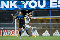 SAN JOSE, CA - SEPTEMBER 16: Dario Zuparic #13 of the Portland Timbers & Andres Rios #25 of the San Jose Earthquakes battle for the ball during a game between Portland Timbers and San Jose Earthquakes at Earthquakes Stadium on September 16, 2020 in San Jose, California.