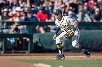 Michigan Wolverines third baseman Blake Nelson (10) on defense against the Vanderbilt Commodores during Game 1 of the NCAA College World Series Finals on June 24, 2019 at TD Ameritrade Park in Omaha, Nebraska. Michigan defeated Vanderbilt 7-4. (Andrew Woolley/Four Seam Images)