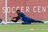 FRISCO, TX - JULY 20: Sean Johnson makes the save during a training session at Toyota Soccer Center FC Dallas on July 20, 2021 in Frisco, Texas.