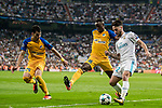 Isco Alarcon (r) of Real Madrid fights for the ball with Vinicius de Oliveira Franco (c) and Praxitellis Vouros of APOEL FC during the UEFA Champions League 2017-18 match between Real Madrid and APOEL FC at Estadio Santiago Bernabeu on 13 September 2017 in Madrid, Spain. Photo by Diego Gonzalez / Power Sport Images