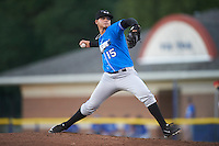 Hudson Valley Renegades starting pitcher Adrian Navas (15) during a game against the Batavia Muckdogs on August 2, 2016 at Dwyer Stadium in Batavia, New York.  Batavia defeated Hudson Valley 2-1.  (Mike Janes/Four Seam Images)