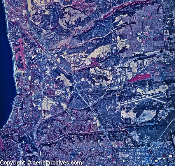 historical infrared aerial photograph of La Jolla and Naval Air Station Miramar, San Diego, California, 1985