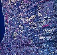 historical infrared aerial photograph of La Jolla and Naval Air Station Miramar, San Diego, California, 1985
