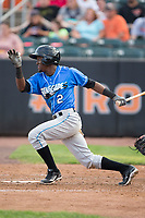 Vidal Brujan (2) of the Hudson Valley Renegades follows through on his swing against the Aberdeen IronBirds at Leidos Field at Ripken Stadium on July 27, 2017 in Aberdeen, Maryland.  The Renegades defeated the IronBirds 2-0 in game one of a double-header.  (Brian Westerholt/Four Seam Images)