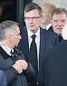 Craig Levein leaves Mortonhall Crematorium after the funeral service for Sandy Jardine.