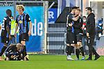 Jubel nach dem Sieg bei dem SV Waldhof beim Spiel in der 3. Liga, SV Waldhof Mannheim - 1. Magdeburg.<br /> <br /> Foto © PIX-Sportfotos *** Foto ist honorarpflichtig! *** Auf Anfrage in hoeherer Qualitaet/Aufloesung. Belegexemplar erbeten. Veroeffentlichung ausschliesslich fuer journalistisch-publizistische Zwecke. For editorial use only. DFL regulations prohibit any use of photographs as image sequences and/or quasi-video.