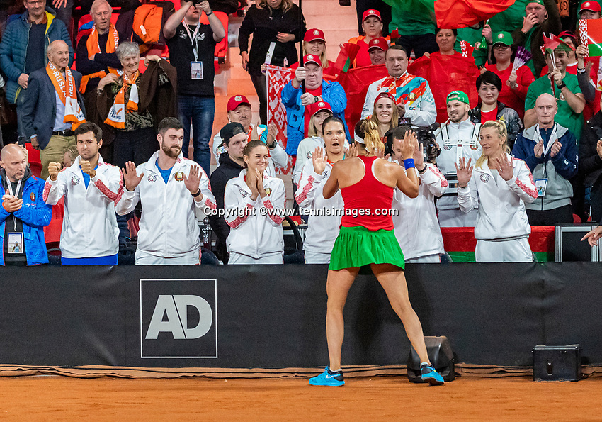 The Hague, The Netherlands, Februari 7, 2020,    Sportcampus, FedCup  Netherlands -  Balarus, Seccond match on friday:  Aryna Sabalenka (BLR) celebrates her vicory over Rus with her team members and eqals the score 1-1.<br /> Photo: Tennisimages/Henk Koster