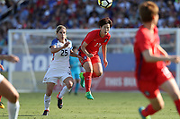 Cary, NC - Sunday October 22, 2017: Yoo Younga and McCall Zerboni during an International friendly match between the Women's National teams of the United States (USA) and South Korea (KOR) at Sahlen's Stadium at WakeMed Soccer Park. The U.S. won the game 6-0.