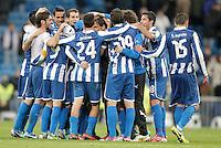 Espanyol's players celebrate during La Liga match. December 16, 2012. (ALTERPHOTOS/Alvaro Hernandez)