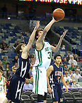 Varsity basketball action between the Newman Greenies and St. Martin's Saints. The game was played in the New Orleans Arena prior to a New Orleans Hornets game.