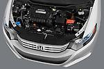 High angle engine detail of a 2010 Honda Insight  .