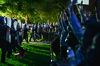 Washington, DC - May 31, 2020: U.S. Park Police and other law enforcement agencies approach protesters gathered in Lafayette Park across from the White House May 31, 2020 following the death of George Floyd in Minneapolis.  (Photo by Don Baxter/Media Images International)