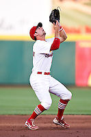 Greg Garcia (10) of the Springfield Cardinals catches a fly ball in the infield during a game against the Arkansas Travelers at Hammons Field on May 5, 2012 in Springfield, Missouri. (David Welker/Four Seam Images)