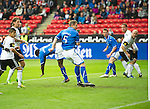 Rosenborg v St Johnstone....18.07.13  UEFA Europa League Qualifier.<br /> Frazer Wright puts St Johnstone in the lead<br /> Picture by Graeme Hart.<br /> Copyright Perthshire Picture Agency<br /> Tel: 01738 623350  Mobile: 07990 594431