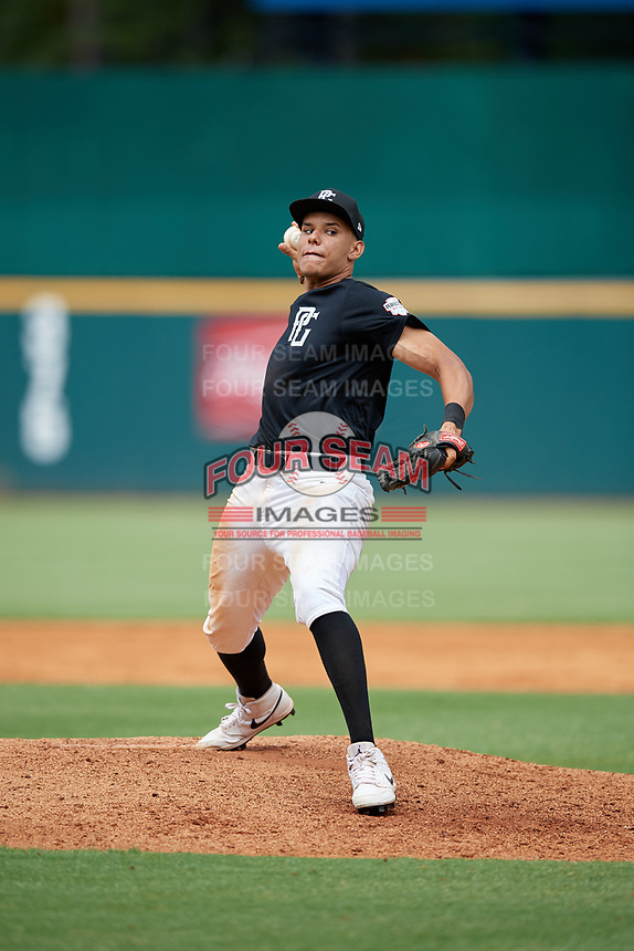 Joshua Baez (16) of Dexter Southfield High School in Boston, MA during the Perfect Game National Showcase at Hoover Metropolitan Stadium on June 17, 2020 in Hoover, Alabama. (Mike Janes/Four Seam Images)