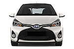 Car photography straight front view of a 2015 Toyota Yaris Hybride Lounge 5 Door Hatchback 2WD Front View