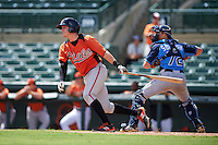 Baltimore Orioles Jerry McClanahan (13) at bat in front of catcher Brett Sullivan (72) during an instructional league game against the Tampa Bay Rays on September 25, 2015 at Ed Smith Stadium in Sarasota, Florida.  (Mike Janes/Four Seam Images)