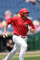 Clearwater Threshers outfielder Brian Pointer (29) during a game against the Dunedin Blue Jays on April 6, 2014 at Bright House Field in Clearwater, Florida.  Dunedin defeated Clearwater 5-2.  (Mike Janes/Four Seam Images)