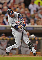 28 September 2012: Detroit Tigers shortstop Jhonny Peralta in action against the Minnesota Twins at Target Field in Minneapolis, MN. The Twins defeated the Tigers 4-2 in the first game of their 3-game series. Mandatory Credit: Ed Wolfstein Photo