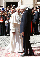 Pope Francis is welcomed by Italian President Sergio Mattarella (r) as he arrives at the Quirinale presidential palace in the occasion of an official visit. Rome, on June 10, 2017.<br /> UPDATE IMAGES PRESS/Isabella Bonotto<br /> STRICTLY ONLY FOR EDITORIAL USE
