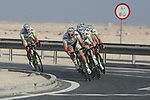 Project IT4i team led by John Degenkolb (GER) warms up before the 2nd Stage of the 2012 Tour of Qatar an 11.3km team time trial at Lusail Circuit, Doha, Qatar. 6th February 2012.<br /> (Photo Eoin Clarke/Newsfile)