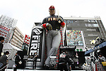 """Apr 2, 2010 - Tokyo, Japan - A giant statue of Japanese professional baseball player Hideki Matsui is erected in front of JR Shinjuku station in Tokyo, Japan as an advertisement for the coffee """"Fire"""" by Kirin Beverage."""