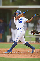 Kevon Jackson (18) of the ACL Royals Blue during a game against the ACL Diamondbacks on September 17, 2021 at Surprise Stadium in Surprise, Arizona. (Tracy Proffitt/Four Seam Images)
