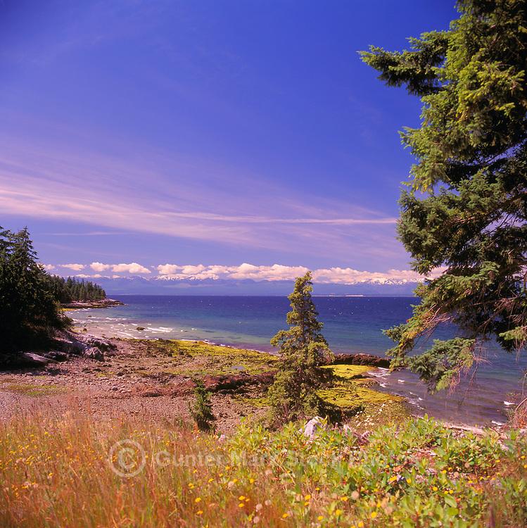 Texada Island, Northern Gulf Islands, BC, British Columbia, Canada - Beach at Lime Kiln Bay overlooking Georgia Strait to Vancouver Island