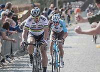 Peter Sagan (SVK/Bora-Hansgrohe) & Oliver Naesen (BEL/AG2R-LaMondiale) up the Taaienberg<br /> <br /> 101th Ronde Van Vlaanderen 2017 (1.UWT)<br /> 1day race: Antwerp › Oudenaarde - BEL (260km)