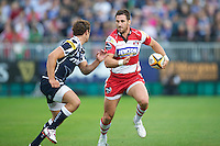 20120803 Copyright onEdition 2012©.Free for editorial use image, please credit: onEdition..Matt Cox of Gloucester Rugby looks to go round Tom Brady of Sale Sharks at The Recreation Ground, Bath in the Final round of The J.P. Morgan Asset Management Premiership Rugby 7s Series...The J.P. Morgan Asset Management Premiership Rugby 7s Series kicked off again for the third season on Friday 13th July at The Stoop, Twickenham with Pool B being played at Edgeley Park, Stockport on Friday, 20th July, Pool C at Kingsholm Gloucester on Thursday, 26th July and the Final being played at The Recreation Ground, Bath on Friday 3rd August. The innovative tournament, which involves all 12 Premiership Rugby clubs, offers a fantastic platform for some of the country's finest young athletes to be exposed to the excitement, pressures and skills required to compete at an elite level...The 12 Premiership Rugby clubs are divided into three groups for the tournament, with the winner and runner up of each regional event going through to the Final. There are six games each evening, with each match consisting of two 7 minute halves with a 2 minute break at half time...For additional images please go to: http://www.w-w-i.com/jp_morgan_premiership_sevens/..For press contacts contact: Beth Begg at brandRapport on D: +44 (0)20 7932 5813 M: +44 (0)7900 88231 E: BBegg@brand-rapport.com..If you require a higher resolution image or you have any other onEdition photographic enquiries, please contact onEdition on 0845 900 2 900 or email info@onEdition.com.This image is copyright the onEdition 2012©..This image has been supplied by onEdition and must be credited onEdition. The author is asserting his full Moral rights in relation to the publication of this image. Rights for onward transmission of any image or file is not granted or implied. Changing or deleting Copyright information is illegal as specified in the Copyright, Design and Patents Act 1988. If you are in any way unsure of your right to publish