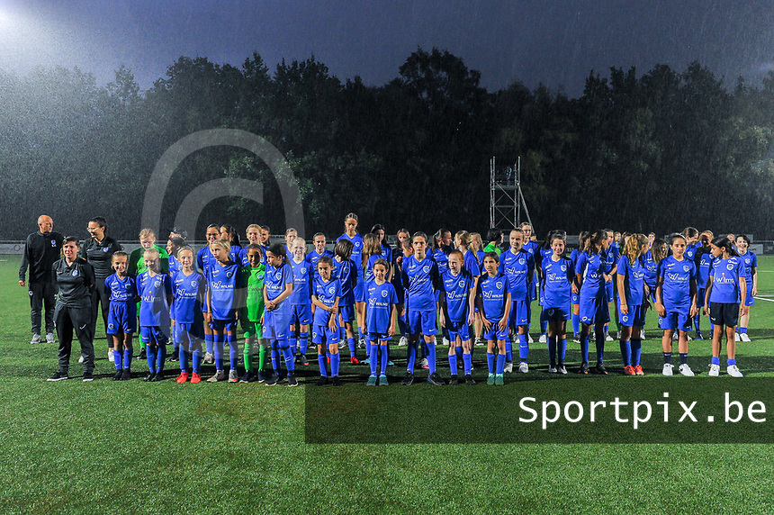 KRC Youth pictured before a female soccer game between  Racing Genk Ladies and Sporting du pays de Charleroi on the fourth matchday of the 2021-2022 season of the Belgian Scooore Womens Super League , friday 10 September 2021  in Genk , Belgium . PHOTO SPORTPIX | STIJN AUDOOREN