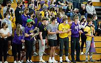 DeForest students cheer on their team, as DeForest tops Waunakee 3 sets to 1 in Wisconsin WIAA girls high school volleyball regional finals on Saturday, Apr. 10, 2021 at DeForest High School