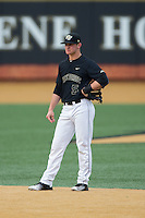 Wake Forest Demon Deacons second baseman Drew Freedman (5) on defense against the Clemson Tigers at David F. Couch Ballpark on March 12, 2016 in Winston-Salem, North Carolina.  The Tigers defeated the Demon Deacons 6-5.  (Brian Westerholt/Four Seam Images)