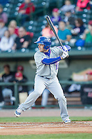 South Bend Cubs outfielder Donnie Dewees (16) at bat against the Great Lakes Loons on May 18, 2016 at Dow Diamond in Midland, Michigan. Great Lakes defeated South Bend 5-4. (Andrew Woolley/Four Seam Images)