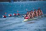 US Women's Eight, Lucerne, Switzerland, FISA 2001 World Rowing Championships, Crew at the start: from stern (l to r): Cox: Mary Whipple, Kate Johnson, Caroline Ingham, Anna Mickleson, Heidi Hurn, Megan Dirkmaat, Maite Urtasun, Kate Ronkainen, Wendy Wilbur, 4th, 6:05.88, Lucerne Rotsee,
