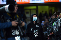 A masked event staffer during the Bledisloe Cup rugby match between the New Zealand All Blacks and Australia Wallabies at Eden Park in Auckland, New Zealand on Saturday, 7 August 2021. Photo: Dave Lintott / lintottphoto.co.nz