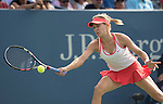 Eugenie Bouchard (CAN) battles to a tiebreaker in the first set against Dominika Cibulkova (SVK) 6-6 at the US Open in Flushing, NY on September 4, 2015.