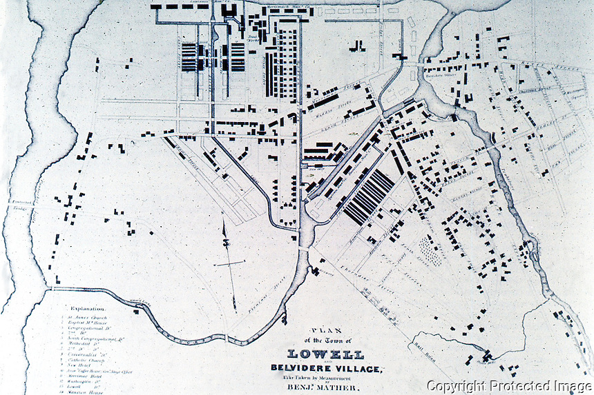 Utopia:  Lowell MA.  Plan 1832.  REPS., MAKING OF URBAN AMERICA, fig. 247.
