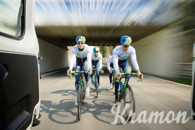 speeding is inevitable while on a training ride with Team Orica-GreenEDGE at the F1 Monza race circuit 1 day before Milan-San Remo