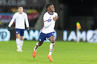 SWANSEA, WALES - NOVEMBER 12: Yunus Musah #18 of the United States moves forward during a game between Wales and USMNT at Liberty Stadium on November 12, 2020 in Swansea, Wales.
