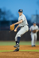 Catawba Indians relief pitcher Ryan Kahny (28) in action against the Belmont Abbey Crusaders at Abbey Yard on February 7, 2017 in Belmont, North Carolina.  The Crusaders defeated the Indians 12-9.  (Brian Westerholt/Four Seam Images)