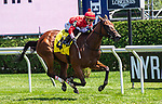 July 24, 2021: Pathetique #4, ridden by jockey Tyler Gaffalione wins a maiden special weight on the turf on the Coaching Club American Oaks undercard at Saratoga Race Course in Saratoga Springs, NY on July 24, 2021. Rob Simmons/Eclipse Sportswire/CSM