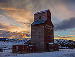 Gallatin County, MT: Old Montana Grain Elevator at sunrise in winter