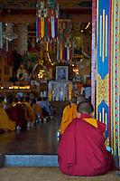 Buddhist Tibetan Monks during a Prayer and lecture at the Kopan Monastery Kathmandu