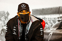 11th October 2020, Nuerburgring, Nuerburg, Germany; FIA Formula 1 Eifel Grand Prix, Race Day;  44 Lewis Hamilton GBR, Mercedes-AMG Petronas Formula One Team talks about the race to the press
