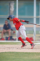 Boston Red Sox Carlos Tovar (5) during a Minor League Spring Training game against the Baltimore Orioles on March 20, 2018 at Buck O'Neil Complex in Sarasota, Florida.  (Mike Janes/Four Seam Images)