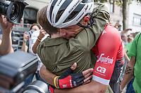 Stage winner Jasper Stuyven (BEL/Trek Segafredo) celebrating his win with his girlfriend. <br /> <br /> Binckbank Tour 2017 (UCI World Tour)<br /> Stage 7: Essen (BE) > Geraardsbergen (BE) 191km