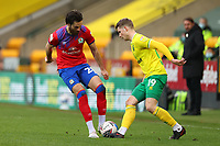 20th March 2021; Carrow Road, Norwich, Norfolk, England, English Football League Championship Football, Norwich versus Blackburn Rovers; Ben Brereton of Blackburn Rovers challenges Jacob Lungi Sorensen of Norwich City